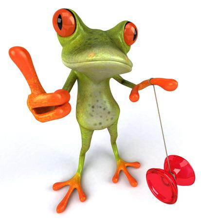 Cartoon frog with yoyo showing thumbs up