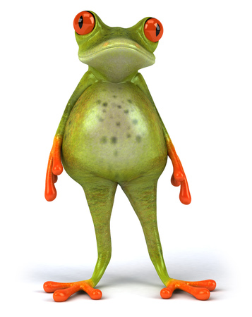 Cartoon frog with bloated stomach Stock Photo