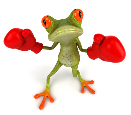 Cartoon frog doing boxing