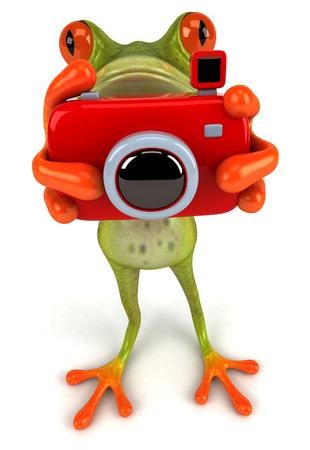 Cartoon kikker met camera