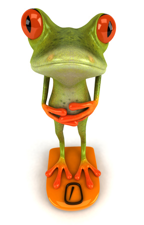Cartoon frog with weight scale