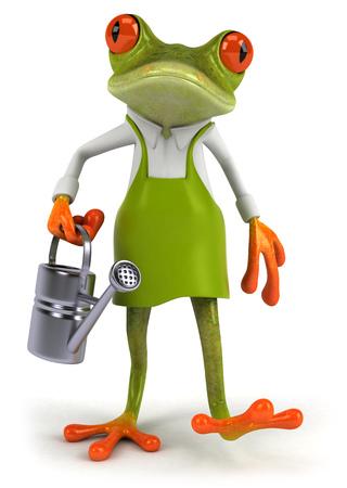 水まき缶で漫画カエル 写真素材 - 80243703