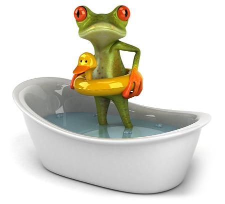 bathe: Cartoon frog in a bathtub