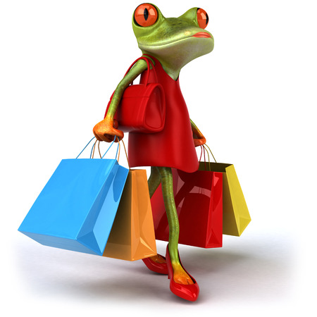 Cartoon frog in a dress and high heels with handbag holding shopping bags