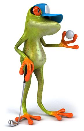 computer club: Cartoon frog with golf club and golf ball