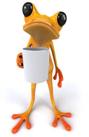Cartoon frog with a mug Stock Photo