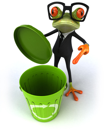 Cartoon frog in a suit with recycling bin Stock Photo