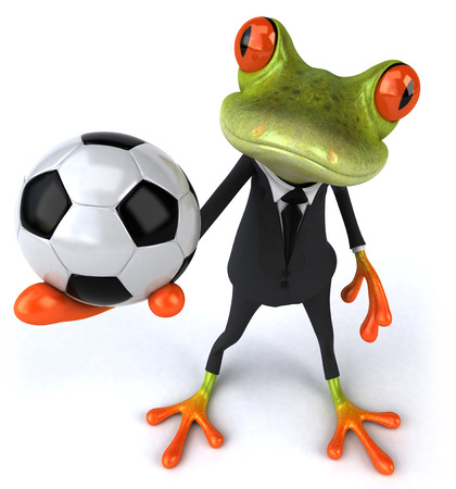Cartoon frog in a suit holding football