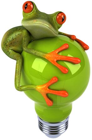 Cartoon frog with light bulb