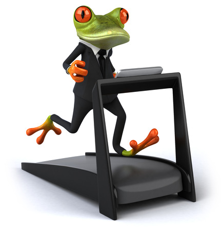 Cartoon frog in a suit on a treadmill running