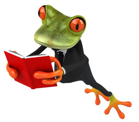 Cartoon frog in a suit reading a book Banco de Imagens