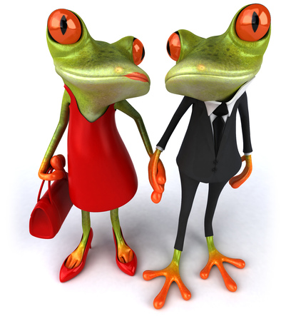 Cartoon couple of frogs holding hands