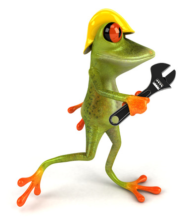 Cartoon frog with safety hat and wrench Stock Photo