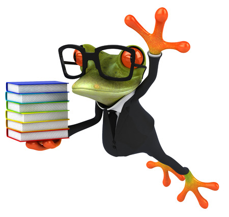Cartoon frog in a suit with books Stock Photo