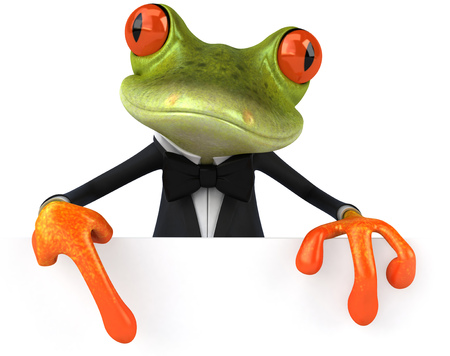 Cartoon frog in a suit
