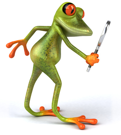 Cartoon frog with magnifying glass Stock Photo