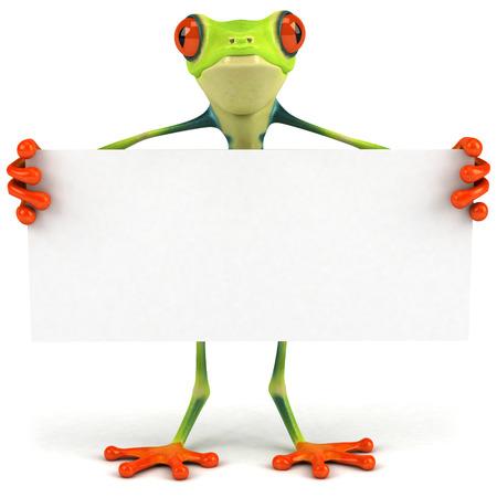 Cartoon kikker met een bordje