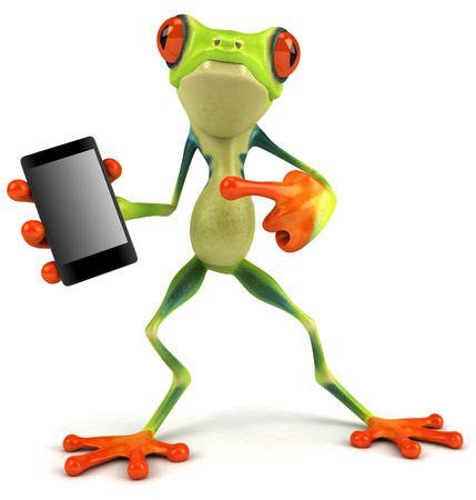croaking: Cartoon frog with a smartphone