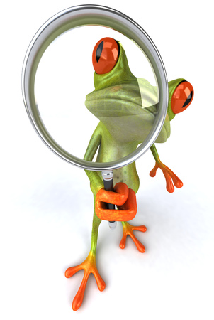Cartoon frog with a magnifying glass
