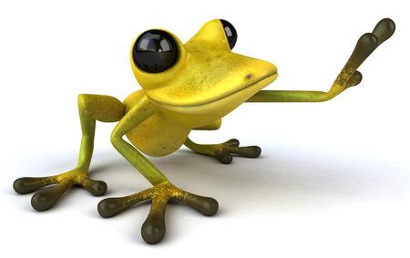 croaking: Cartoon frog is posing