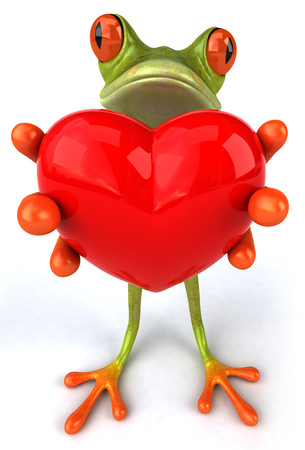 Cartoon frog is holding heart shape