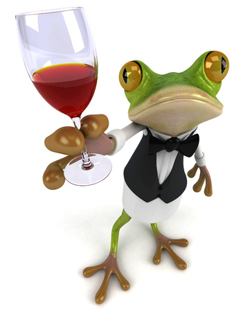 Cartoon frog as a waiter holding wine glass