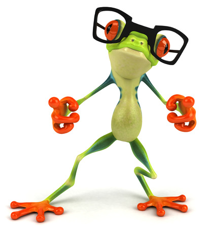 Cartoon frog with glasses is posing