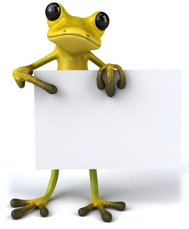 Cartoon frog is holding a placard Stock Photo
