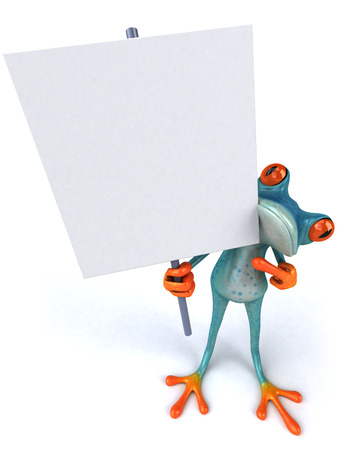 croaking: Cartoon frog is holding a signboard Stock Photo