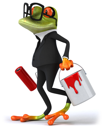 양복과 양동이와 페인트 롤러를 들고 안경에서 만화 개구리