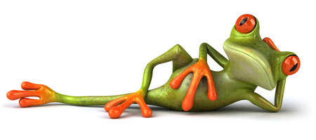 Cartoon frog is lying down