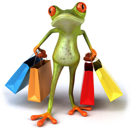 Cartoon frog with shopping bags