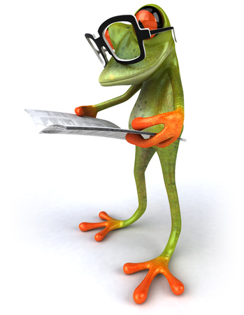 Cartoon frog reading newspaper