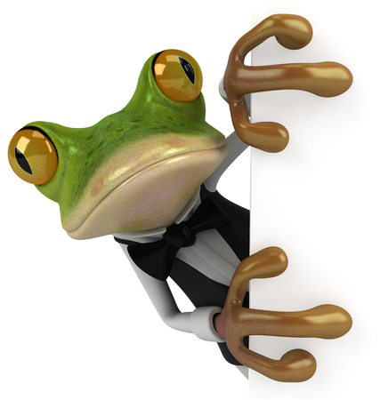 digitally generated image: Cartoon frog as a waiter