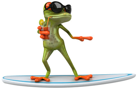 Cartoon frog on surfboard with sunglasses and a drink