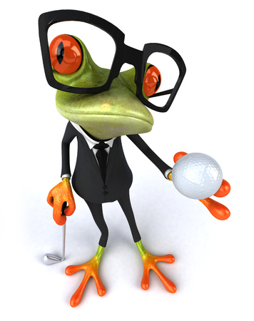 Cartoon frog in a suit with golf ball and golf club Stok Fotoğraf