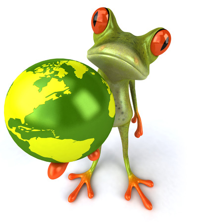 Cartoon frog holding earth globe