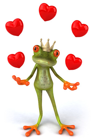 digitally generated image: Cartoon frog with crown and heart shapes
