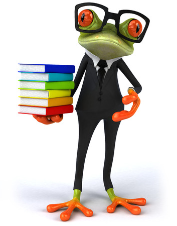 digitally generated image: Cartoon frog in a suit with glasses holding books