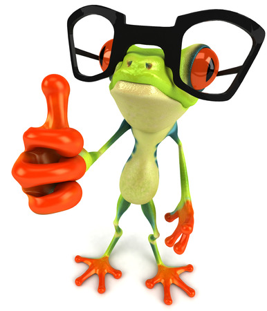 croaking: Cartoon frog with glasses showing thumbs up