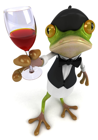 Cartoon frog as a waiter holding a wine glass