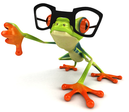 Cartoon frog with glasses showing thumbs down Stock Photo