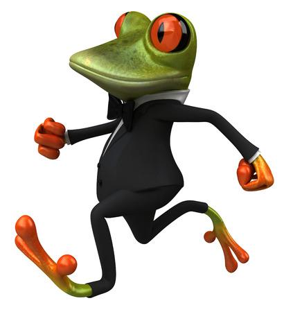 Cartoon frog in a suit running