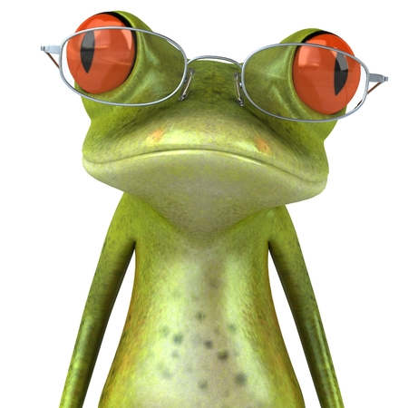Cartoon frog with glasses on Stock Photo