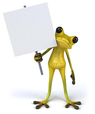 croaking: Cartoon frog holding a signboard