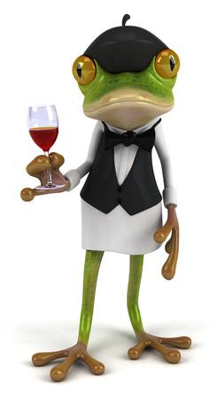 Cartoon frog as a waiter holding wine glass