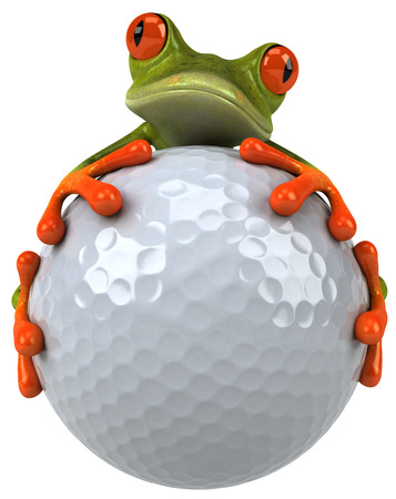 Cartoon frog holding a golf ball