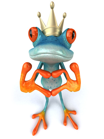 Cartoon frog with crown showing hand gesture