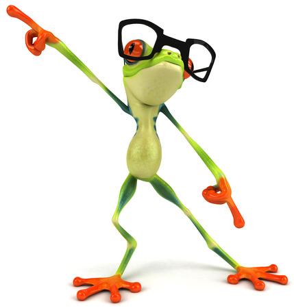 만화 개구리가 춤을 추고있다.