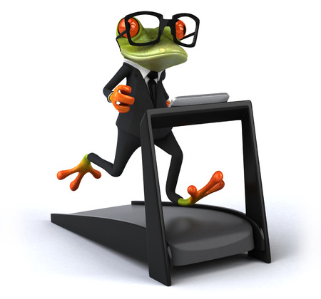 Cartoon frog in a suit running on treadmill Stok Fotoğraf